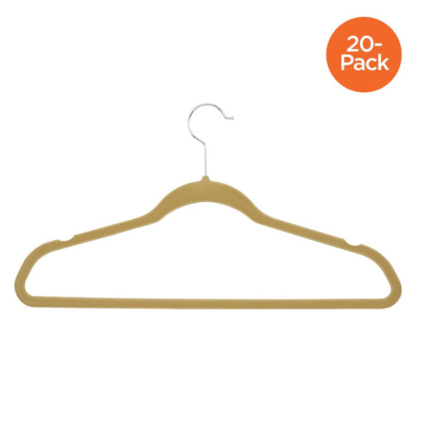 20-Pack Flocked Suit Hanger, Tan
