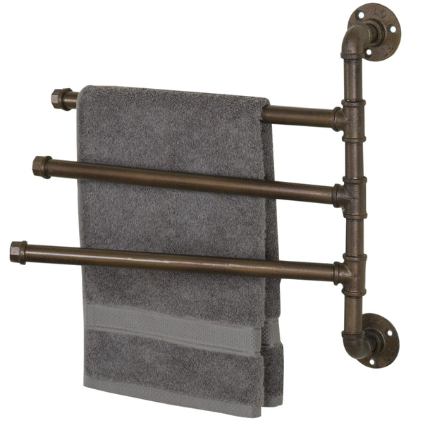 Industrial Pipe 3-Arm Swivel Towel Bar Rack