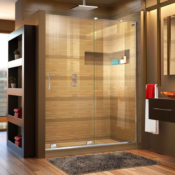 Mirage-X 56-60 in. W x 72 in. H Frameless Sliding Shower Door, Right Wall Installation
