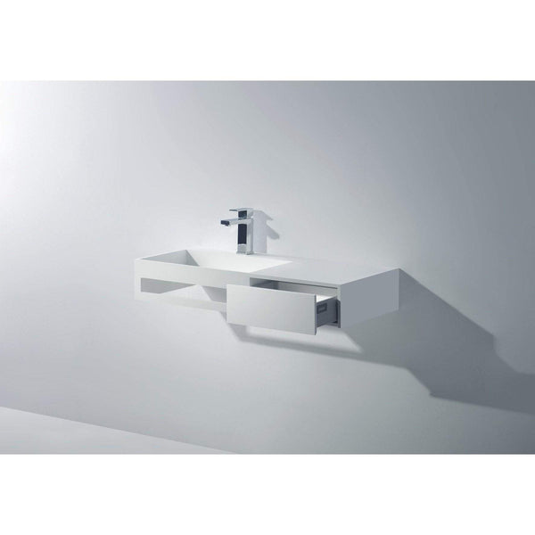"Ideavit 35"" Wall Mounted Single Sink Bathroom Vanity with One Drawer & Towel Bar, White Solid Surface"