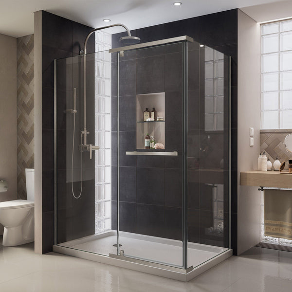 Quatra 32 5/16 in. D x 46 5/8 in. W x 72 in. H Frameless Pivot Shower Enclosure in Brushed Nickel