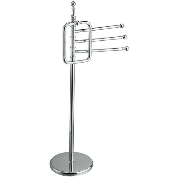 BA Standing 3-Tier Bathroom Towel Bar Rail Holder & Towel Ring Set - Brass