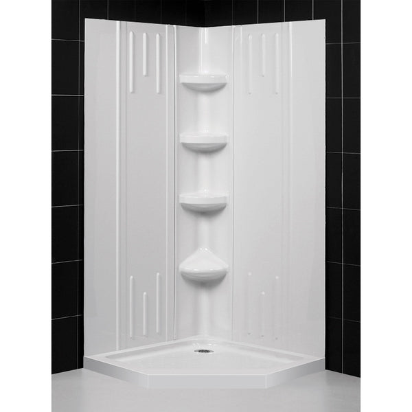 36 in. x 36 in. x 75 5/8 in. H Neo-Angle Shower Base and QWALL-2 Acrylic Corner Backwall Kit in White