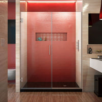 Unidoor Plus 59 1/2 - 60 in. W x 72 in. H Frameless Hinged Shower Door in Brushed Nickel
