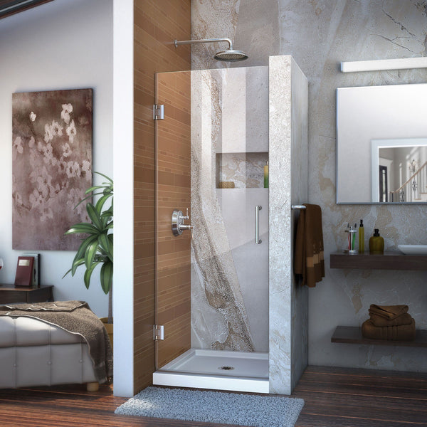 Unidoor 24 in. W x 72 in. H Frameless Hinged Shower Door