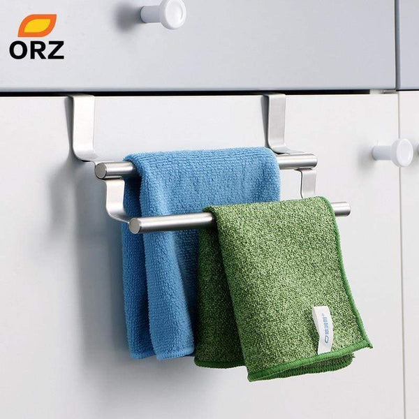 ORZ Kitchen Cabinet Towel Rack Stainless Steel Hook Type Towel Bar Holder Shelves Hanging Over Door Bathroom Storage Hanger