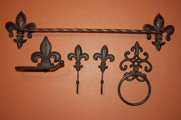 5) Antique-look Fleur De Lis Bath Decor Set Towel Bar Towel hooks Towel ring Toilet Paper Holder Set of 5 pieces, Solid Cast Iron