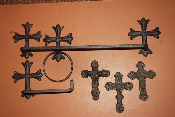 6) Cast Iron Spanish Mission Bathroom Decor, Misson Revival Cross Design, Towel Bar Rack Ring Toilet TP Holder, Set of 6 pcs