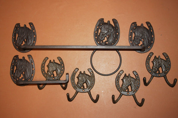 7) Country Western Horse Bathroom Decor, Towel Toilet Paper Holder set of 7 pcs Solid Cast Iron Rustic Brown Finish