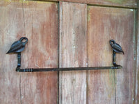 Towel Bar Hand Forged Wrought Iron, Leaf End