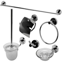 ALFI brand AB9513 Brushed Nickel/Polished Chrome 6 Piece Matching Bathroom Accessory Set