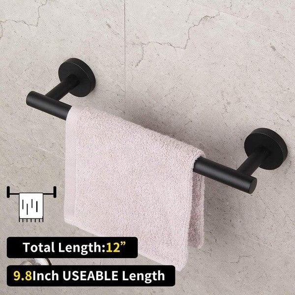 Matte 304 Stainless Steel Bath Shower Set 3pcs Bathroom Hardware Accessories Set Black Towel bar paper holder robe hook