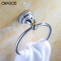 Bathroom Towel Ring Holder W/ Ceramic Decoration Towel Rack Towel Bar Stainless Steel Chrome/Golden Bathroom Accessories
