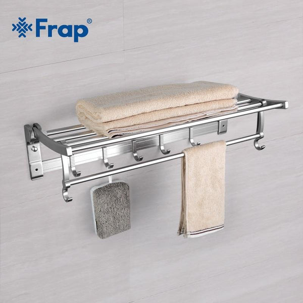 Adjustable Towel Rack with Hooks
