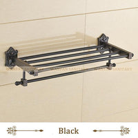 Bathroom Shelves Dual Tier Brass Wall Bath Shelf Towel Rack Holder Hangers Rails Home Decorative Accessories Towel Bar Wf71208