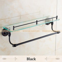 Bathroom Shelves Single Tempered Glass Antique Brass Towel Bar Cosmetic Racks Hanger Storage Home Deco Bath Wall Shelf Hj1313