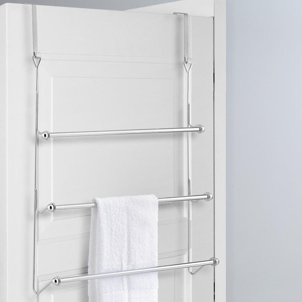 3 Tier Over-the-Door Bathroom Towel Bar Rack with Chrome-Plated Finish