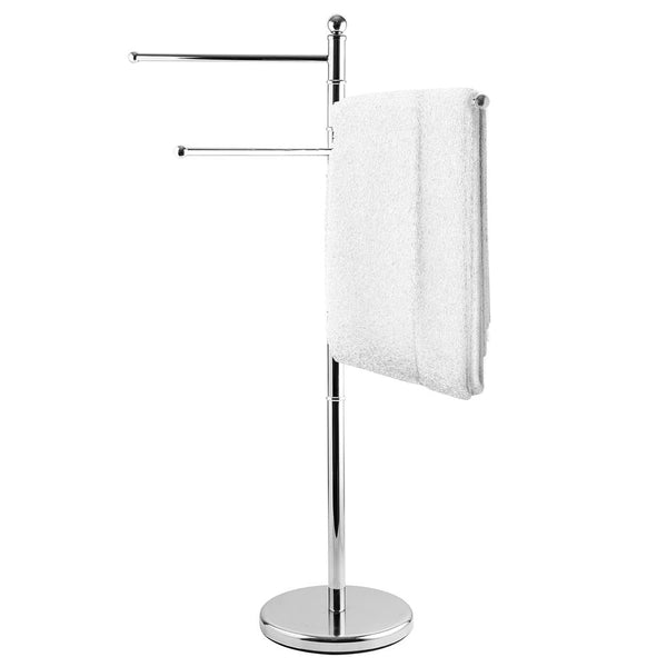 40 Inch Stainless Steel Bathroom  / Kitchen Towel Rack Stand with 3 Swivel Arms