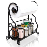 Black Metal Kitchen Countertop Paper Towel Holder Bar with Condiment Shelf Rack