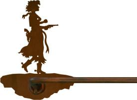 "Pistol Cowgirl Design 18"" Hand Towel Bar"