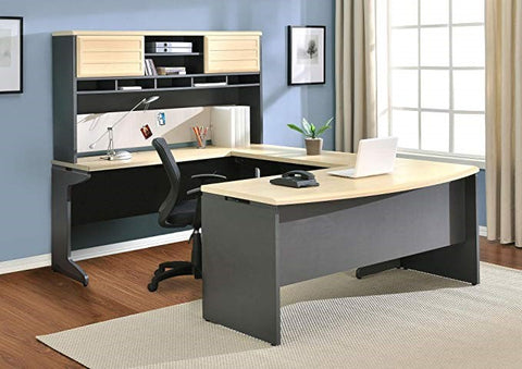 Ameriwood Home U-Shaped Desk with Hutch Bundle