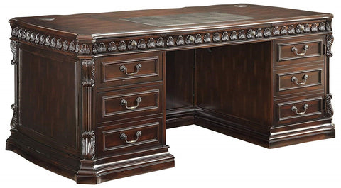 Tucker Double Pedestal Executive Desk with Leather Insert Top