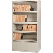 Lorell LLR43512 Receding Lateral File with Roll Out Sleeves, Putty