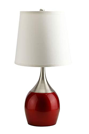 Benzara BM158902 Captivating Metal Table Lamp with Touch Light, Set of Four, Silver and Red