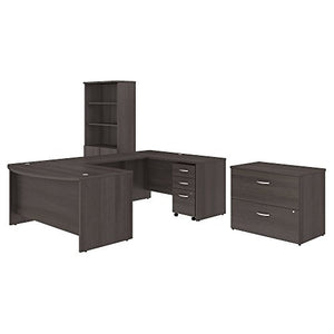 Studio C 60W x 36D U Shaped Desk with Bookcase and File Cabinets in Storm Gray