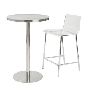 Euro Style Chloe Clear Acrylic Counter  Height Stool with Chromed Base, Set of 2