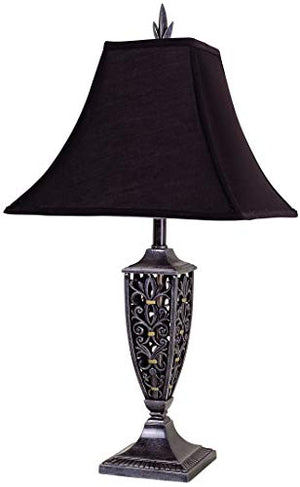 Benzara BM158933 Traditional Pagoda Shape Polyresin Table Lamp, Set of Four, Black