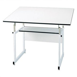 "WorkMaster Jr. Melamine Drafting Table Frame Finish: White, Size: 30"" x 42"""