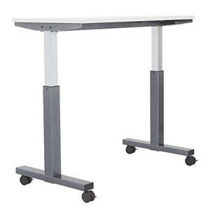 OSP Furniture PHAT2448G7 Pneumatic Height Adjustable Table, Grey Top with Titanium Base