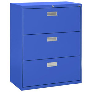 "Sandusky Lee LF6A363-06 600 Series 3 Drawer Lateral File Cabinet, 19.25"" Depth x 40.875"" Height x 36"" Width, Blue"