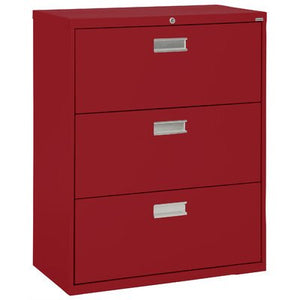 "Sandusky Lee LF6A363-01 600 Series 3 Drawer Lateral File Cabinet, 19.25"" Depth x 40.875"" Height x 36"" Width, Red"