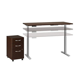 Move 60 Series 60W x 24D Height Adjustable Standing Desk with Storage in Mocha Cherry Satin with Cool Gray Metallic Base