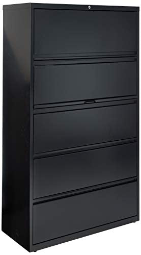 Lorell 5-Drawer Lateral File, 42 by 18-5/8 by 67-11/16-Inch, Black