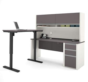Bestar Connexion L-Desk with Hutch Including Electric Height Adjustable Table, Slate/Sandstone