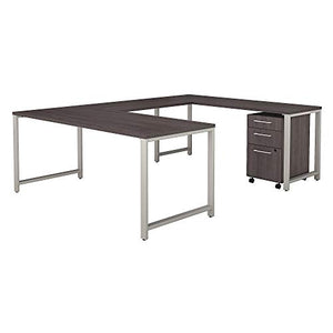 Bush Business Furniture 400 Series 72W x 30D U Shaped Table Desk with 3 Drawer Mobile File Cabinet in Storm Gray