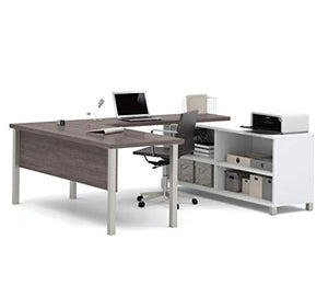 Bestar Pro-Linea U-Desk, White/Bark Grey