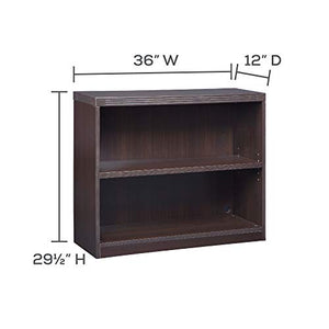 Mayline AB2S36LDC Aberdeen Bookcase, 2 Shelf, Mocha Tf