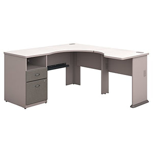 Bush Business Furniture Series A 60W L Shaped Corner Desk with 2 Drawer Pedestal and 30W Bridge in Pewter and White Spectrum