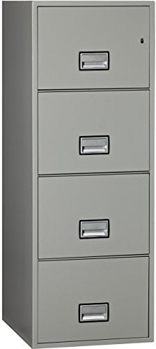 Phoenix Vertical 25 inch 4-Drawer Legal Fireproof File Cabinet with Water Seal - Light Gray