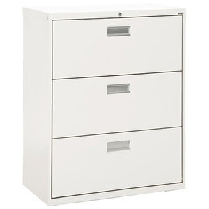 "Sandusky Lee LF6A363-22 600 Series 3 Drawer Lateral File Cabinet, 19.25"" Depth x 40.875"" Height x 36"" Width, White"
