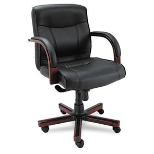 Alera ALEMA42LS10M Madaris Series MidBack Knee Tilt Leather Chair w/Wood Trim, Black/Mahogany