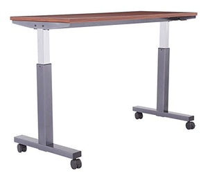 OSP Furniture PHAT2460C7 Pneumatic Height Adjustable Table, Cherry Top with Titanium Base