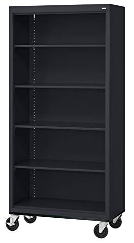 "Sandusky Lee BM40361872-09 Black Steel Mobile Bookcase, 4 Adjustable Shelves, 200 lb. Per Shelf Capacity, 78"" Height x 36"" Width x 18"" Depth"