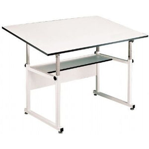 "Alvin WM72-3-XB Workmaster Table with Black Steel Base and White Melamine Table Top 37.5"" x 72"" Inches, Height Adjusts from 29"" to 46"" in Horizontal Position, Angle Adjusts from Horizontal 0° to 40°"
