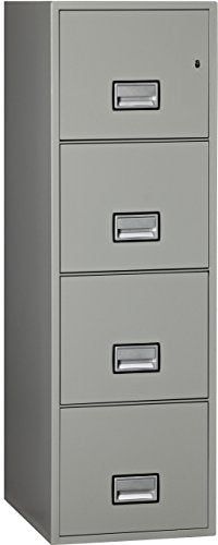 Phoenix Vertical 25 inch 4-Drawer Letter Fireproof File Cabinet with Water Seal - Light Gray