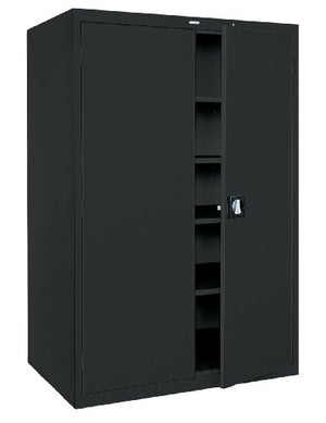 "Sandusky Lee KDE7848-09 Black Steel SnapIt Storage Cabinet, 4 Adjustable Shelves, Keyless Electronic Coded Lock, Powder Coat Finish, 78"" Height x 48"" Width x 24"" Depth"